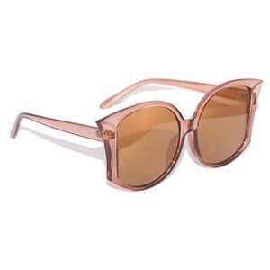 Accessories - Retro 70s Big Fan Fin Sepia Sunglasses